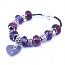 Purple Personalised European Style Bracelet with Engraved Heart Charm